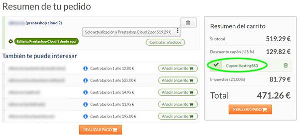 HostingSSD - Resumen Carrito PrestaShop Cloud