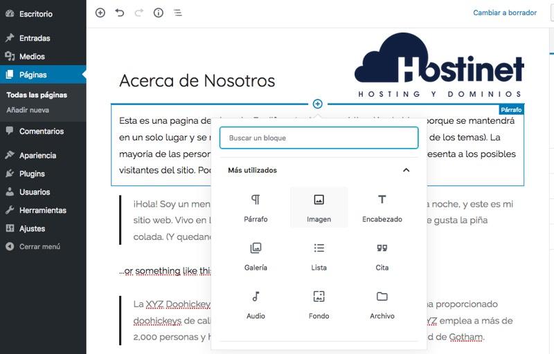 anadir contenido blog wordpress - Hostinet