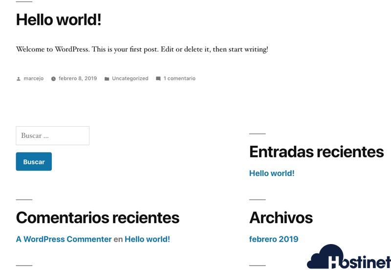 blog wordpress recien instalado en Hosting