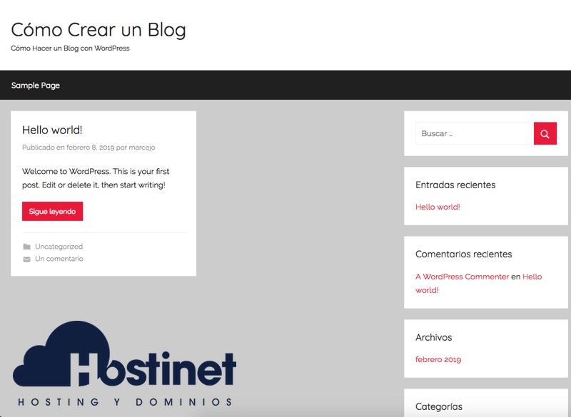 blog wordpress theme nuevo instalado WordPress