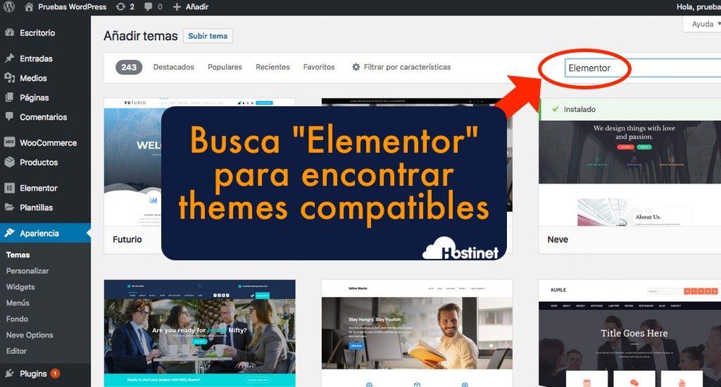 buscar theme compatible con elementor en WordPress