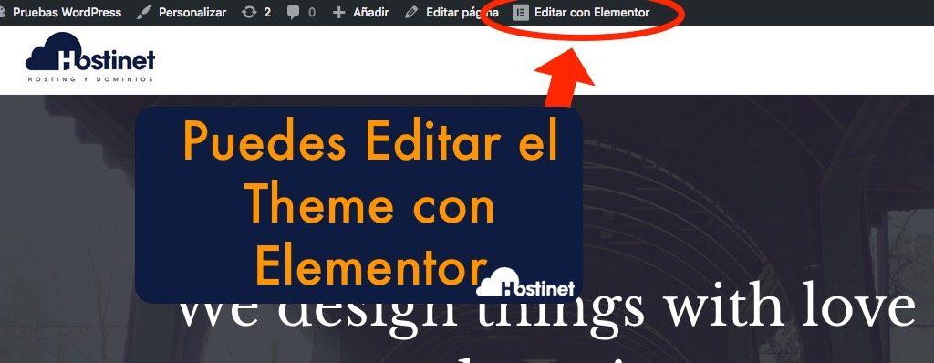 editar theme  directamente con elementor