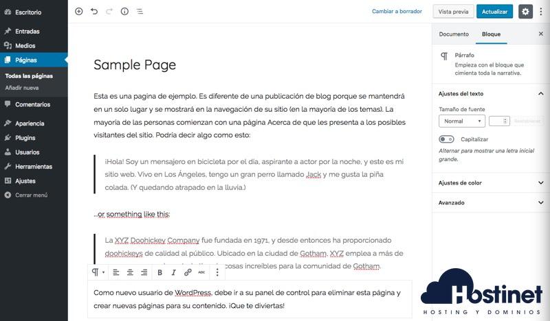 editor página ejemplo wordpress - Hostinet