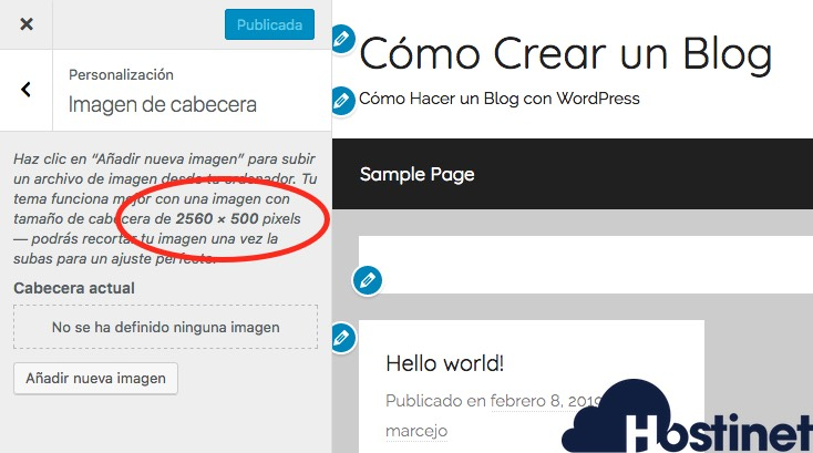 imagen cabecera personalizar wordpress - Hostinet