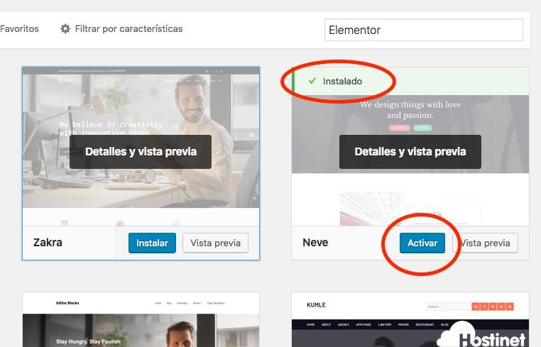 instalar activar theme WordPress
