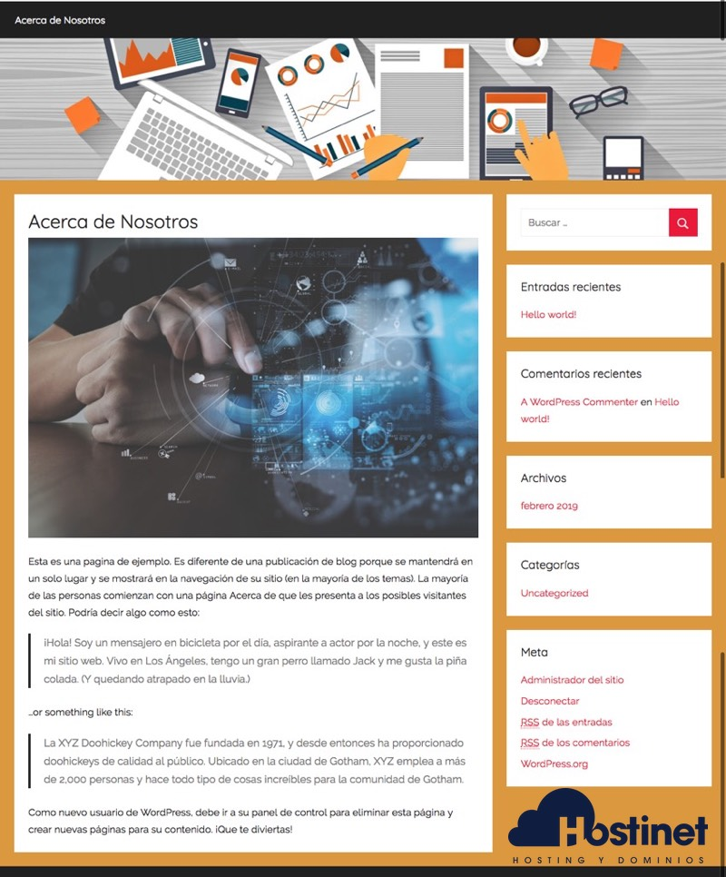 pagina editada blog wordpress - Hostinet