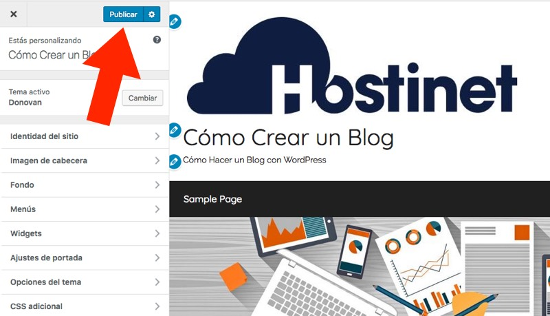 publicar personalizar wordpress - Hostinet