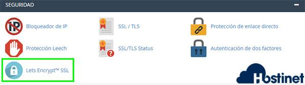 cPanel, Seguridad -> Let's Encrypt SSL